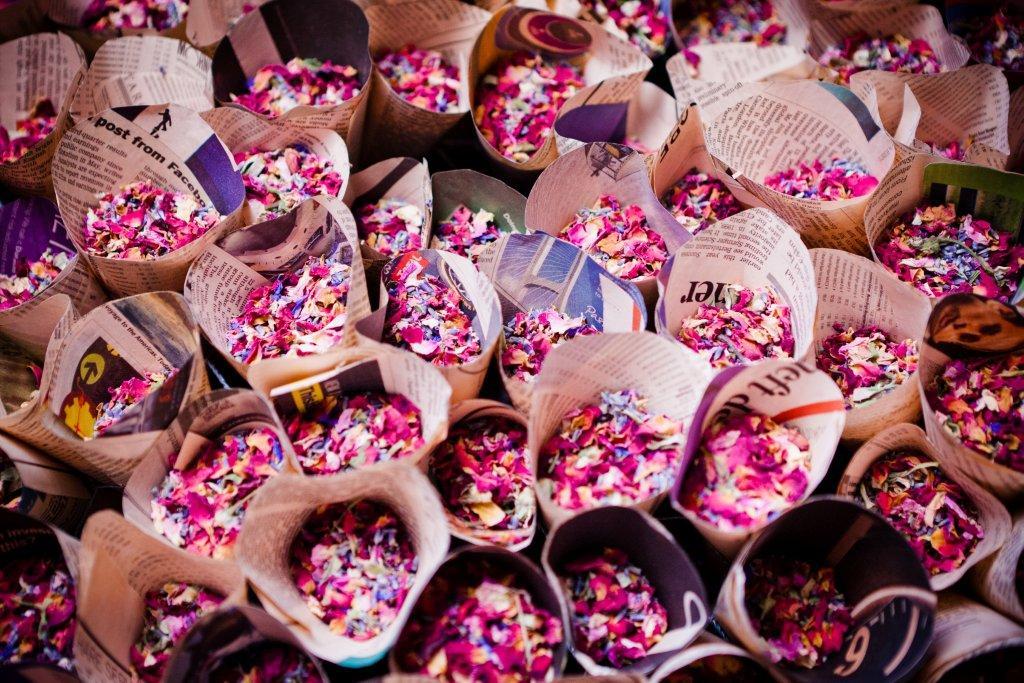 confetti cones with natural confetti petals
