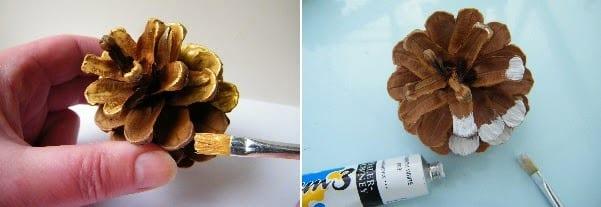 painting pine cones